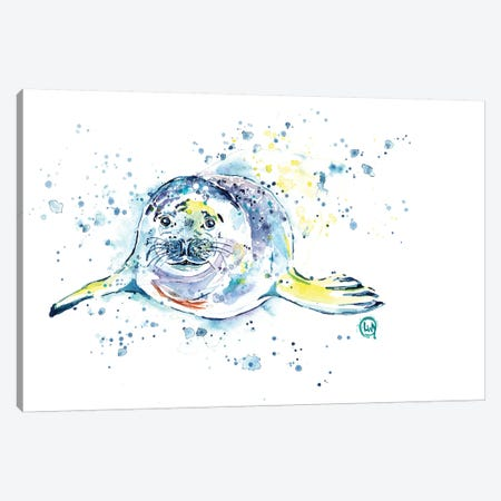 Emil The Seal Canvas Print #LWH54} by Lisa Whitehouse Canvas Wall Art