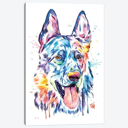 Black German Shepherd Canvas Print #LWH65} by Lisa Whitehouse Canvas Print
