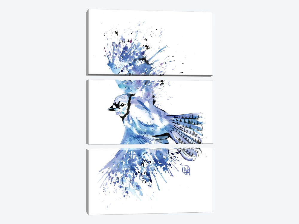 Bluetiful - Blue Jay by Lisa Whitehouse 3-piece Canvas Print