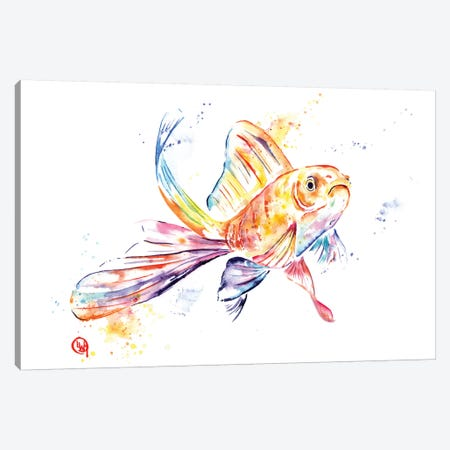 Frank The Frowner Goldfish 3-Piece Canvas #LWH70} by Lisa Whitehouse Canvas Print
