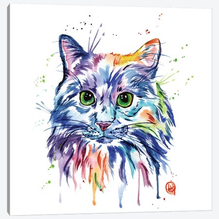 Rainbow Kitty Canvas Print #LWH78} by Lisa Whitehouse Art Print
