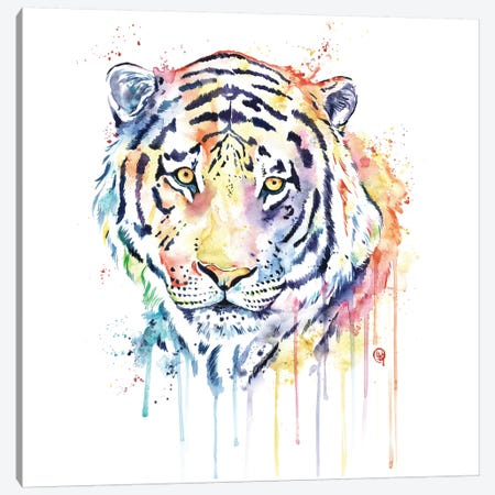 Rainbow Tiger Canvas Print #LWH79} by Lisa Whitehouse Art Print