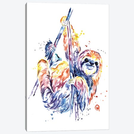 The Lazy Sloth Canvas Print #LWH86} by Lisa Whitehouse Canvas Art Print