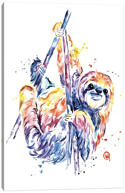 The Lazy Sloth Canvas Art Print