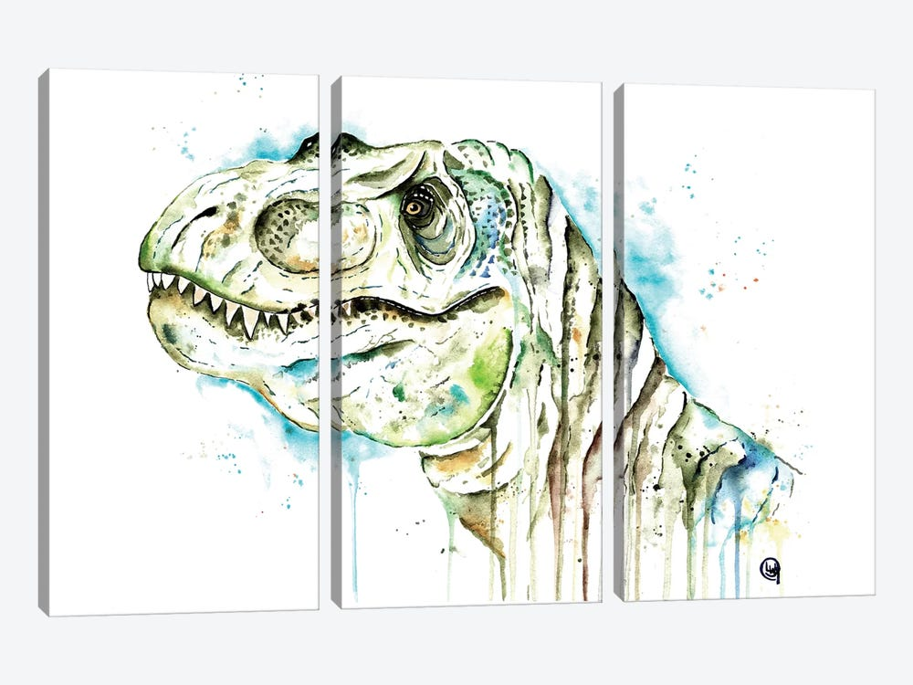 Tom The T-Rex by Lisa Whitehouse 3-piece Canvas Wall Art
