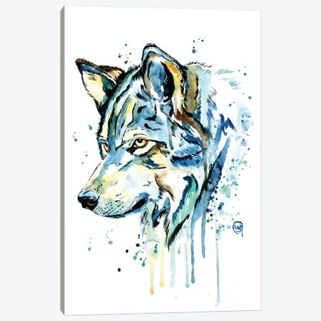 Wolf Grey Sky Canvas Print #LWH89} by Lisa Whitehouse Canvas Wall Art