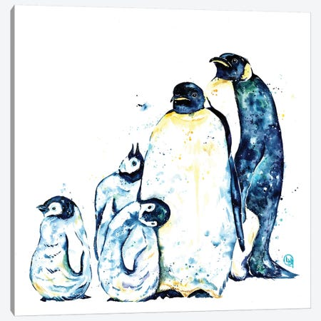 Penguin Family Canvas Print #LWH93} by Lisa Whitehouse Canvas Art Print