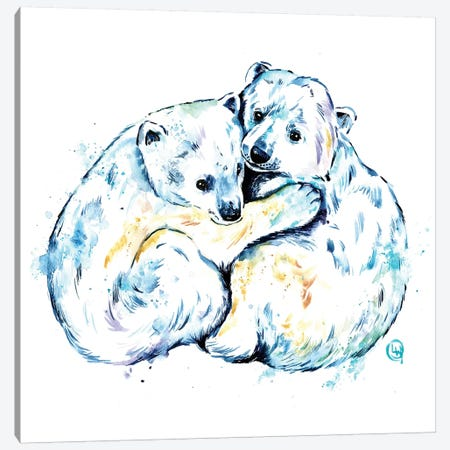 Polar Bear Brothers Canvas Print #LWH94} by Lisa Whitehouse Canvas Wall Art