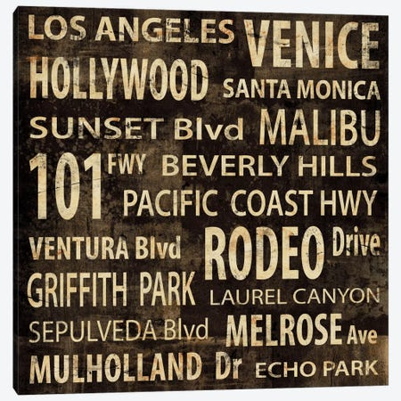 LA In Words Canvas Print #LWI14} by Luke Wilson Art Print