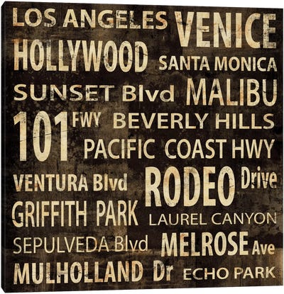 LA In Words Canvas Art Print