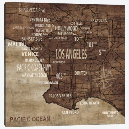 Map Of Los Angeles Canvas Print #LWI19} by Luke Wilson Canvas Artwork