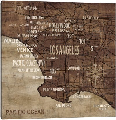 Map Of Los Angeles Canvas Art Print