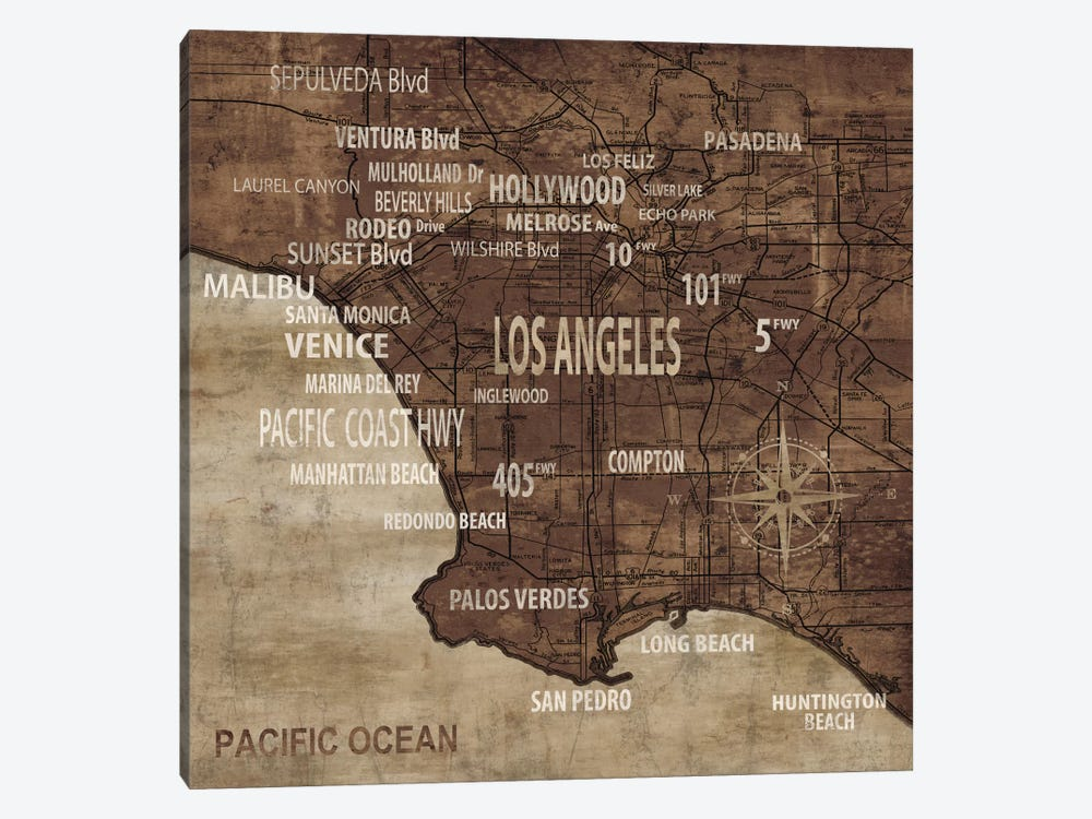 Map Of Los Angeles by Luke Wilson 1-piece Canvas Art