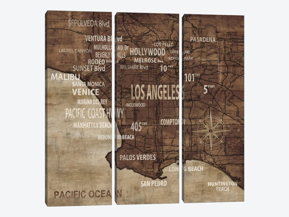 Map Of Los Angeles by Luke Wilson 3-piece Canvas Art