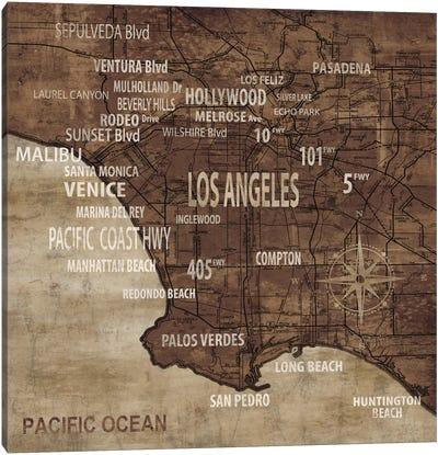Map Of Los Angeles Canvas Art Print