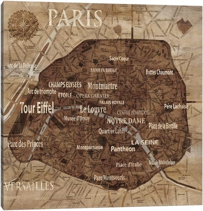 Map Of Paris Canvas Art Print