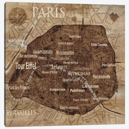 Map Of Paris Canvas Print #LWI20} by Luke Wilson Canvas Print