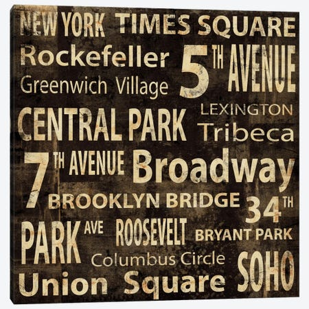 NYC In Words Canvas Print #LWI22} by Luke Wilson Canvas Art Print