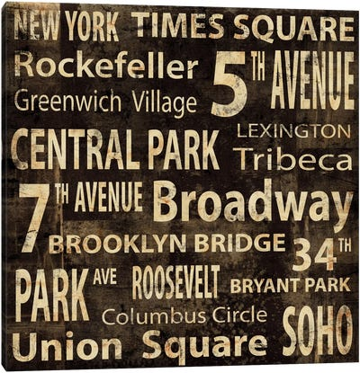 NYC In Words Canvas Art Print