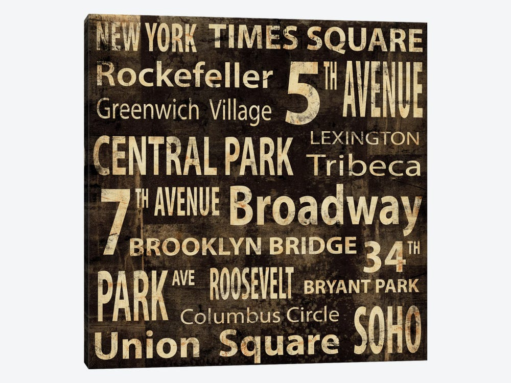 NYC In Words 1-piece Canvas Artwork
