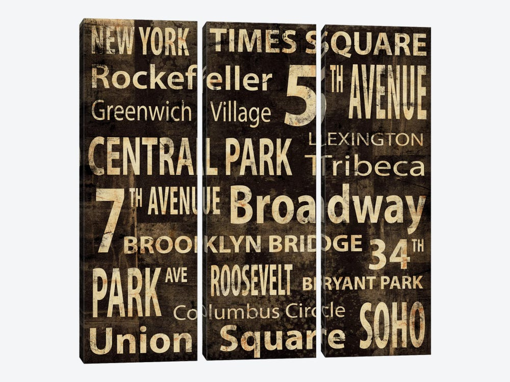NYC In Words by Luke Wilson 3-piece Canvas Artwork