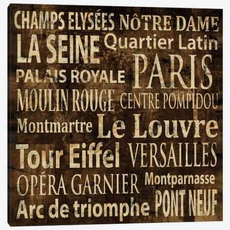 Paris In Words Canvas Print #LWI27} by Luke Wilson Canvas Art