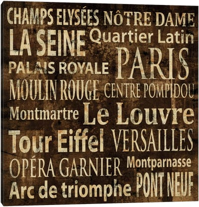 Paris In Words Canvas Art Print