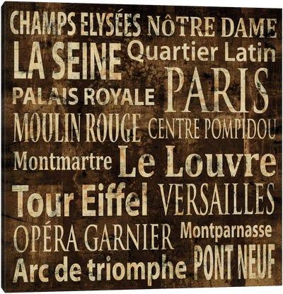 Paris In Words Canvas Art Print