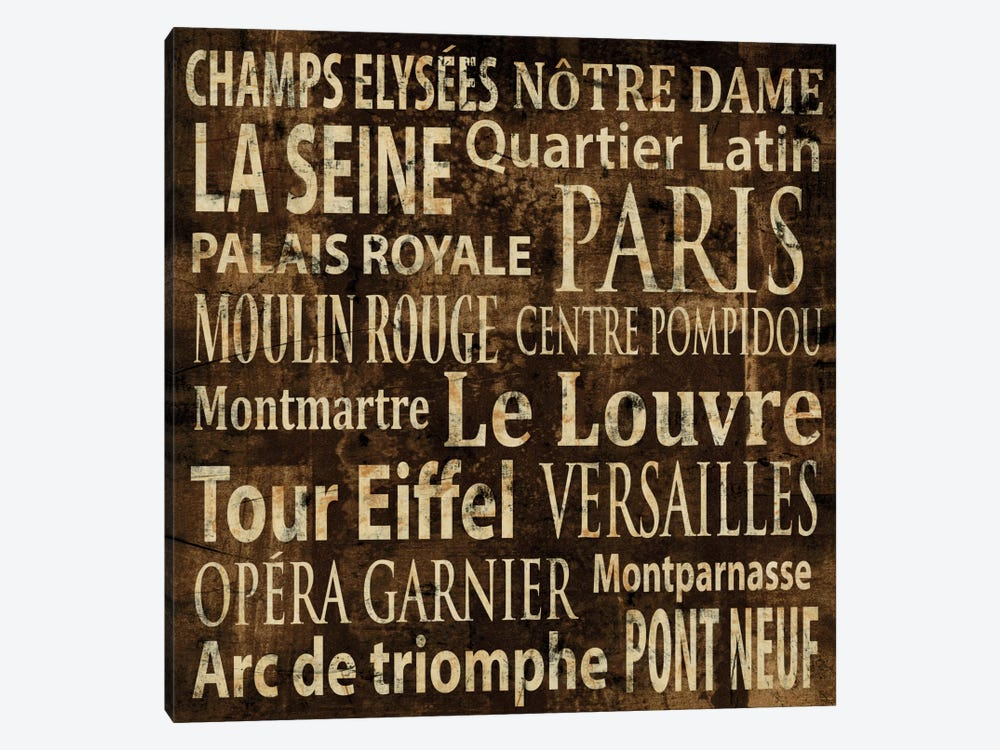 Paris In Words by Luke Wilson 1-piece Canvas Print