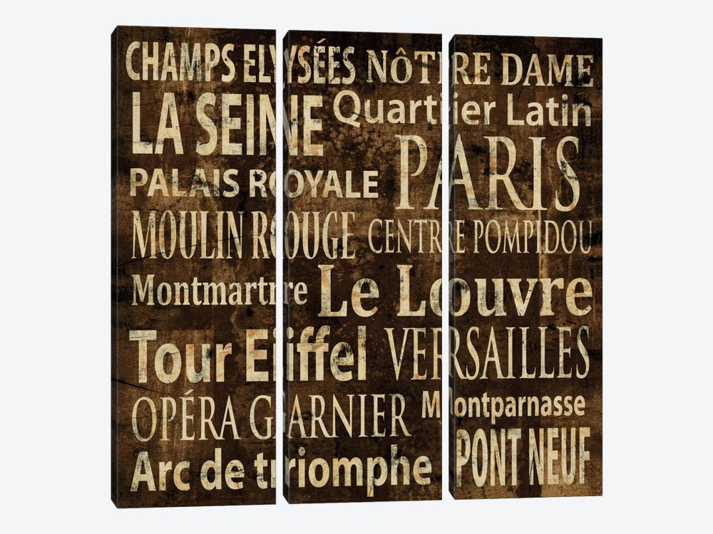 Paris In Words by Luke Wilson 3-piece Art Print
