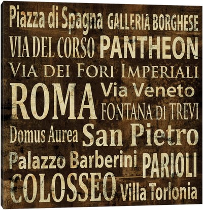 Roma In Words Canvas Art Print
