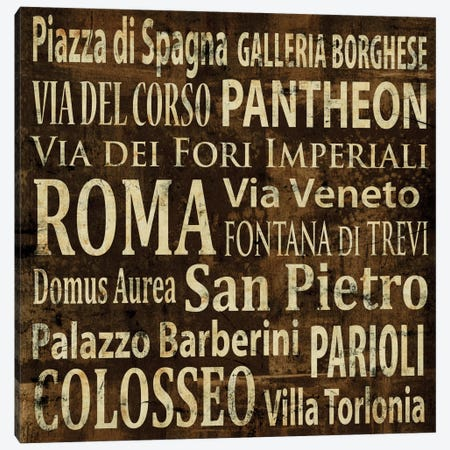 Roma In Words Canvas Print #LWI34} by Luke Wilson Canvas Print
