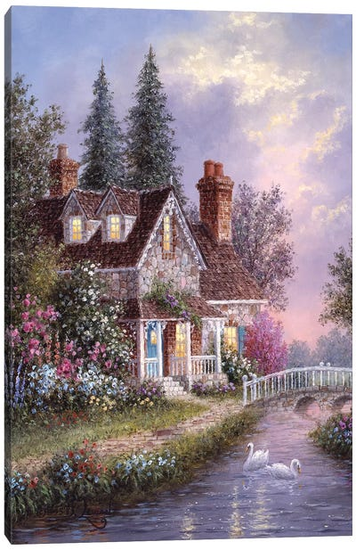 Stonebridge Cottage Canvas Art Print