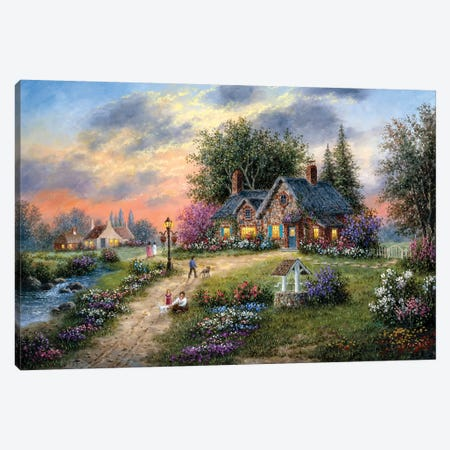 Stoney-Brook Cottage Canvas Print #LWN113} by Dennis Lewan Art Print