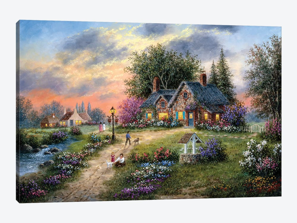 Stoney-Brook Cottage by Dennis Lewan 1-piece Canvas Artwork