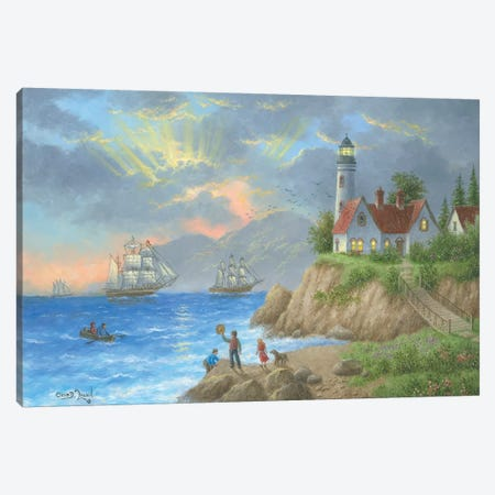 Sun Ray Bay Canvas Print #LWN117} by Dennis Lewan Canvas Artwork