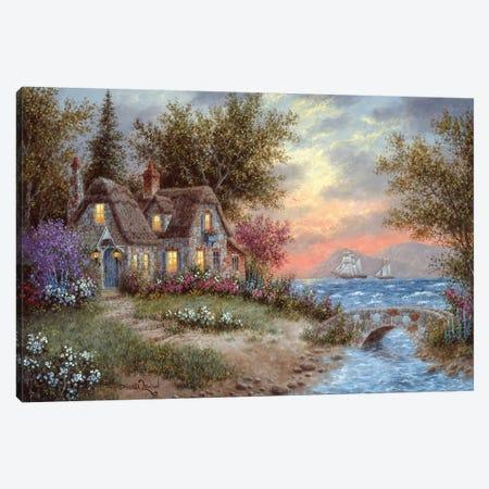 Sunset Over the Bay Canvas Print #LWN119} by Dennis Lewan Art Print