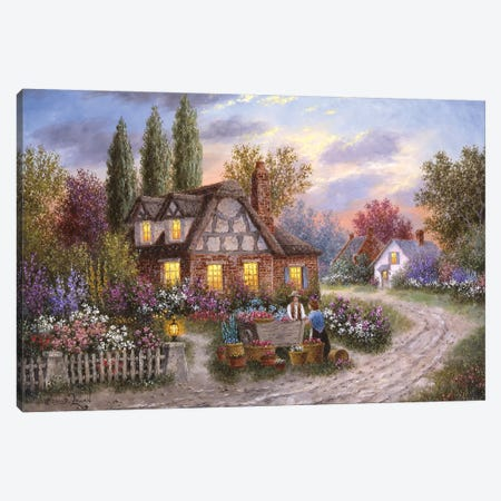 The Flower Vendor Canvas Print #LWN126} by Dennis Lewan Canvas Art Print