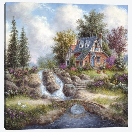 Alpine Falls 3-Piece Canvas #LWN12} by Dennis Lewan Canvas Art Print
