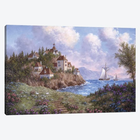 Village by the Sea Canvas Print #LWN144} by Dennis Lewan Canvas Art Print