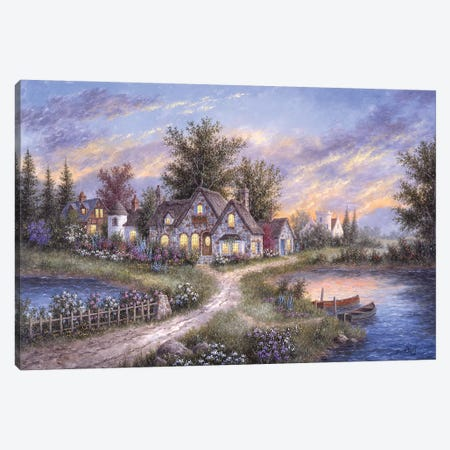 Amber Skies Over England Canvas Print #LWN14} by Dennis Lewan Canvas Art