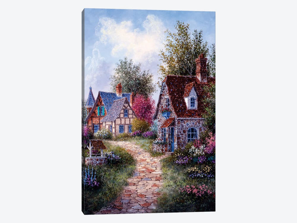 Wishing Well Lane by Dennis Lewan 1-piece Canvas Art