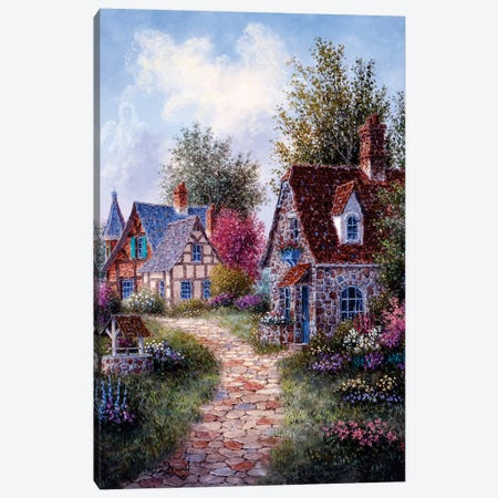 Wishing Well Lane Canvas Print #LWN159} by Dennis Lewan Canvas Art Print