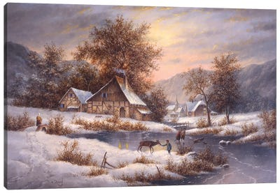 Amber Sky of Winter Canvas Art Print