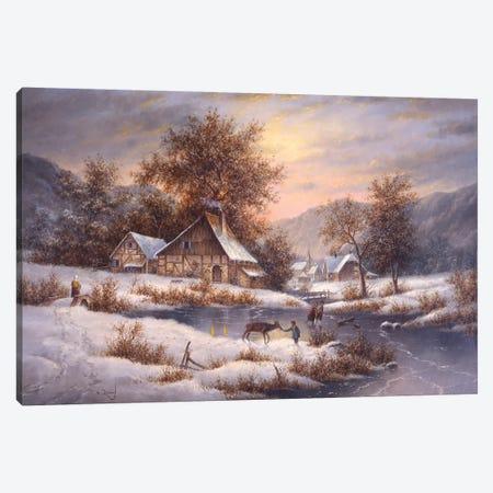 Amber Sky of Winter Canvas Print #LWN15} by Dennis Lewan Canvas Wall Art