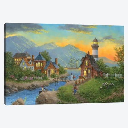 Bayside Afterglow Canvas Print #LWN25} by Dennis Lewan Art Print