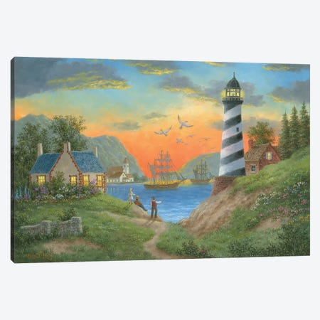 Bayside Lights Canvas Print #LWN26} by Dennis Lewan Canvas Art Print
