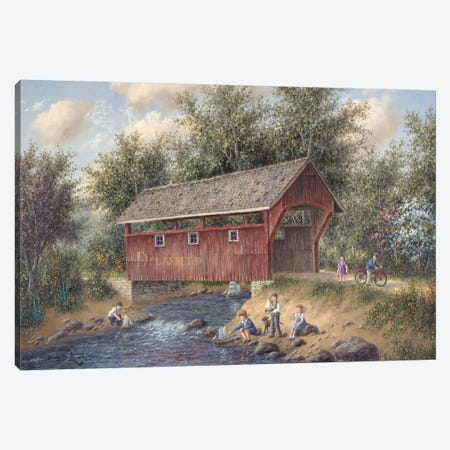 Boating Near Delafield Canvas Print #LWN30} by Dennis Lewan Art Print