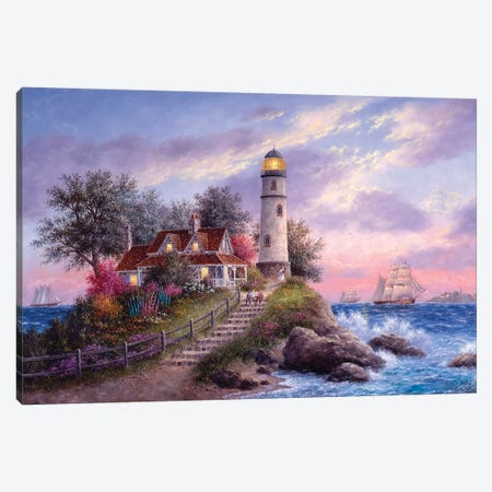 Captain's Cove Canvas Print #LWN35} by Dennis Lewan Canvas Wall Art