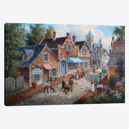 A Nice Day in Old-Town Canvas Print #LWN4} by Dennis Lewan Canvas Art Print